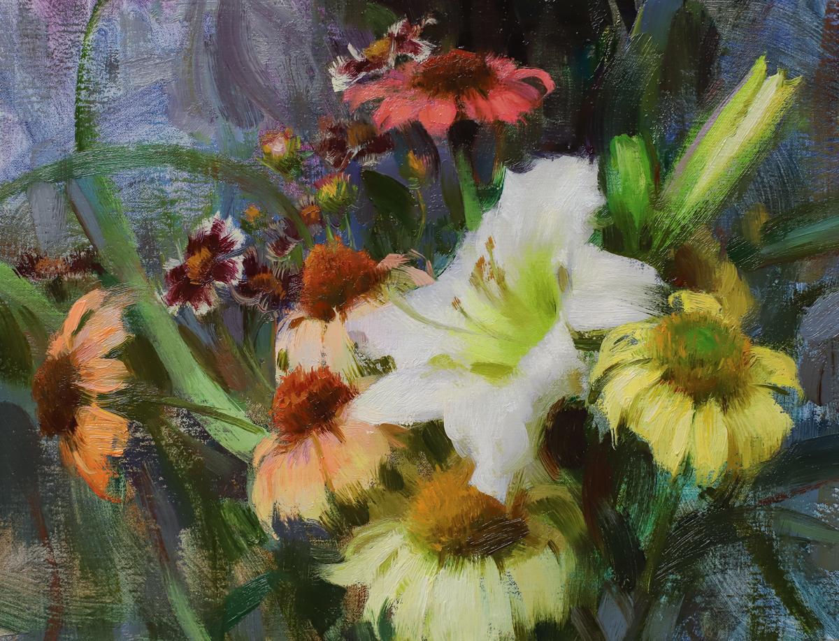 "Daniel Keys""Daylily, Echinacea, & Coreopsis"" 9""x12"" Oil"