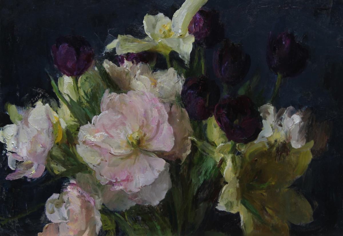 """Michael Klein """"Garden Tulips""""12"""" x 16""""Oil"""