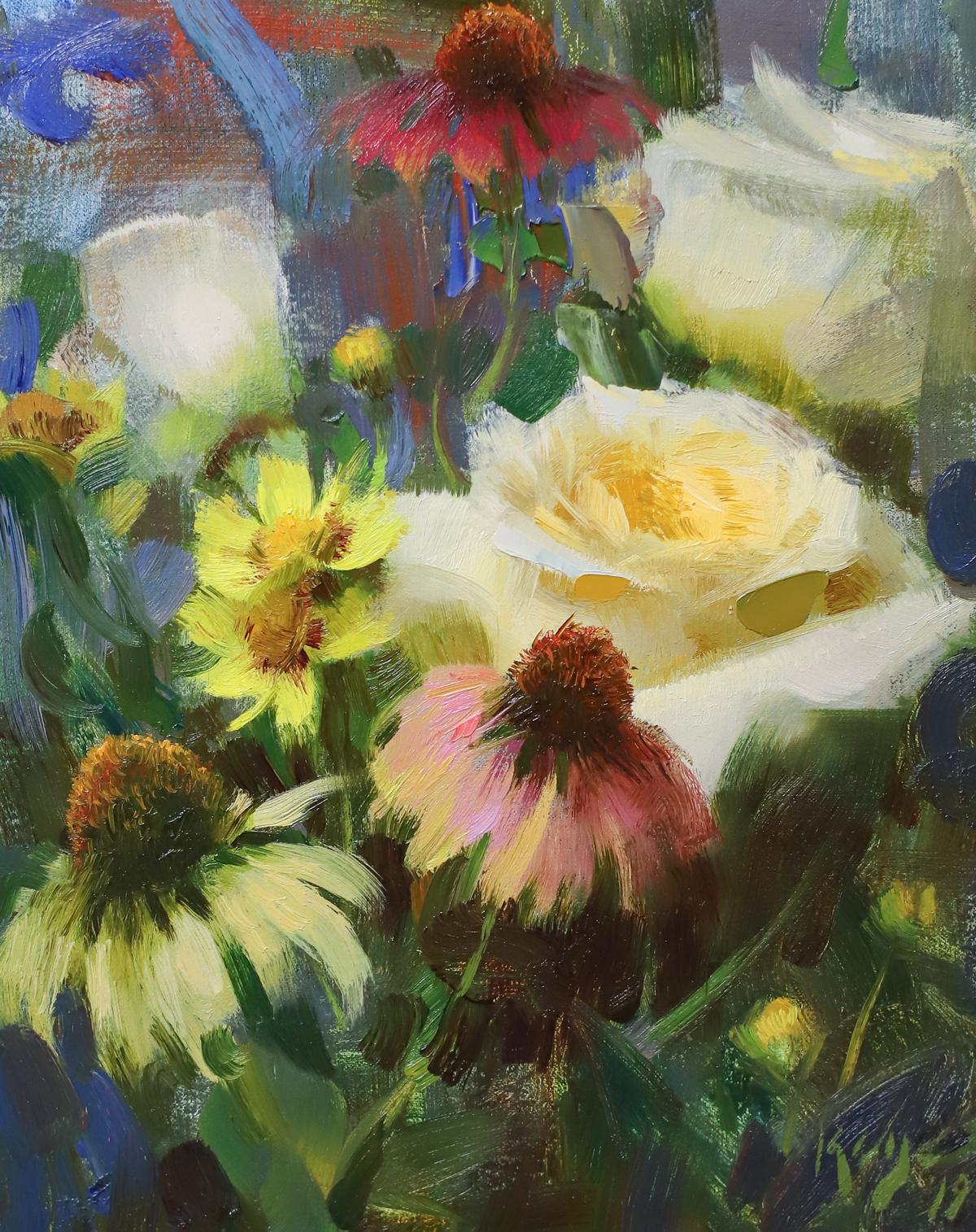 "Daniel Keys ""Roses & Echinacea"" 10""x8"""