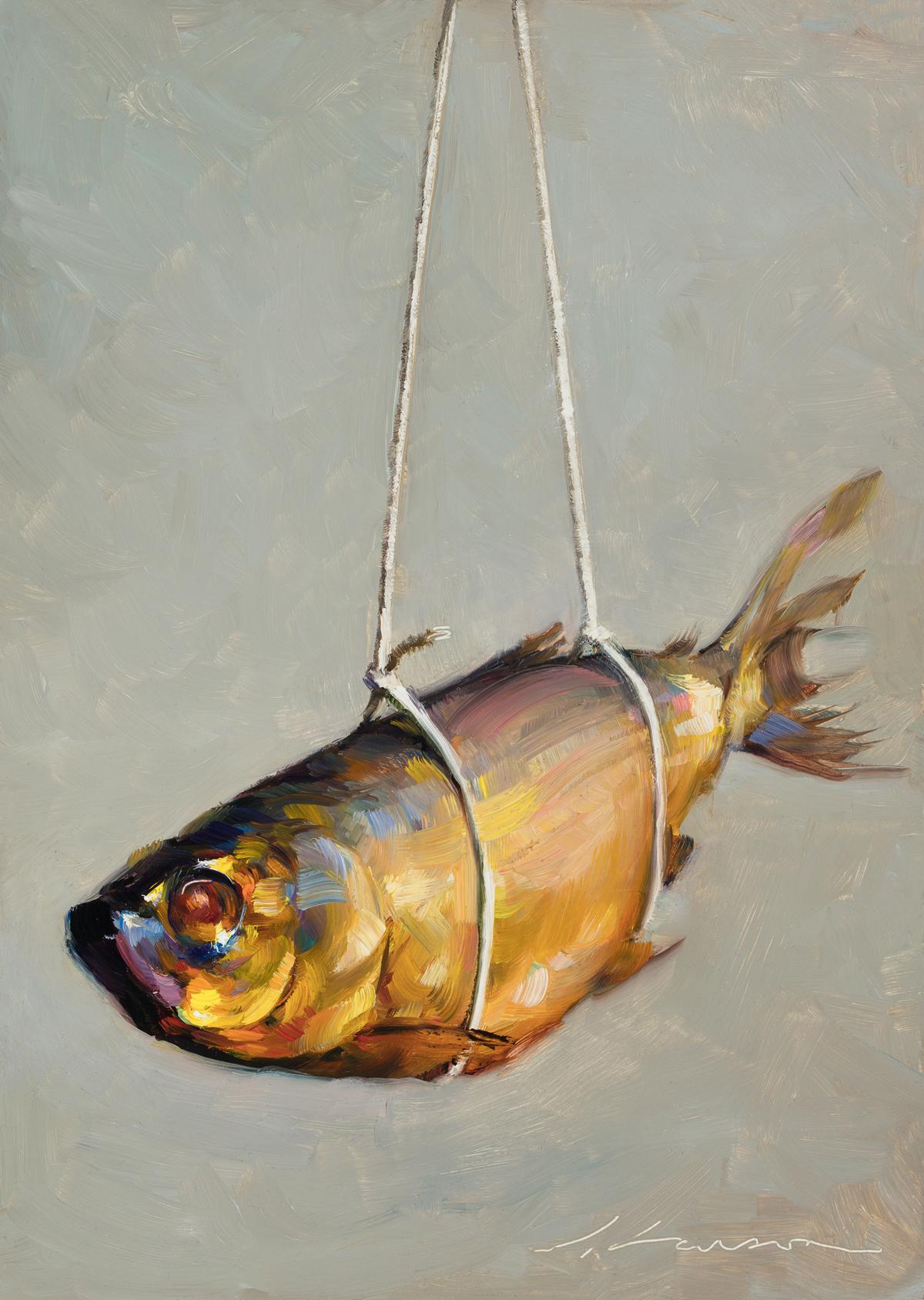 "Jeffrey T. Larson  ""Floating Fish"" 8""x6"" Oil"
