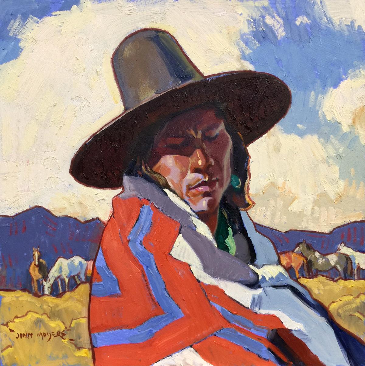 "(SOLD) John Moyers ""His Family's Horses"" 12""x12"" Oil"