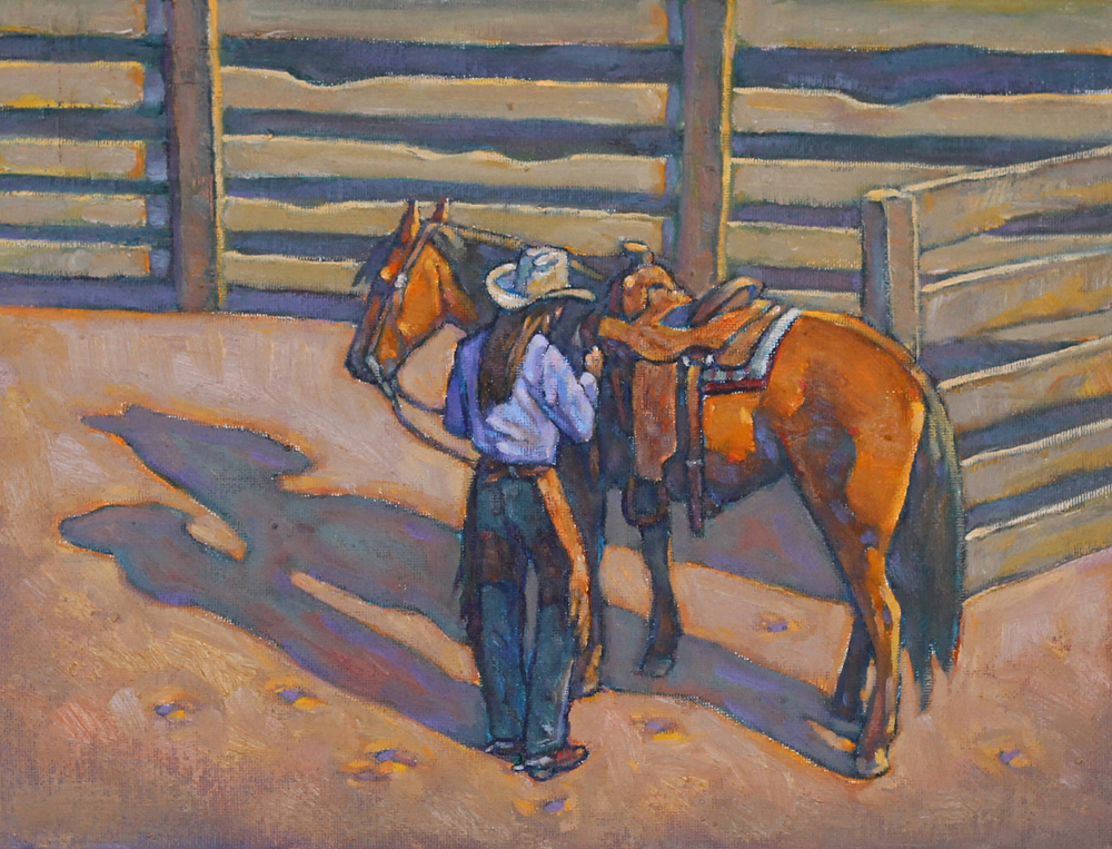 """(SOLD) Howard Post """"The Boss's Daughter""""9"""" x 12""""Oil"""