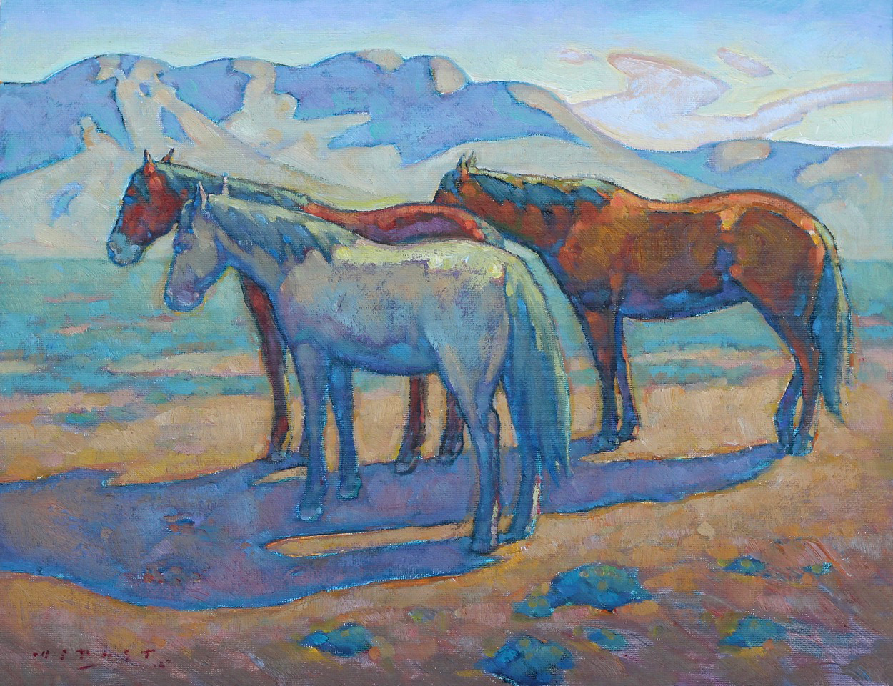 """(SOLD) Howard Post """"The Three Mares""""11"""" x 14""""Oil"""