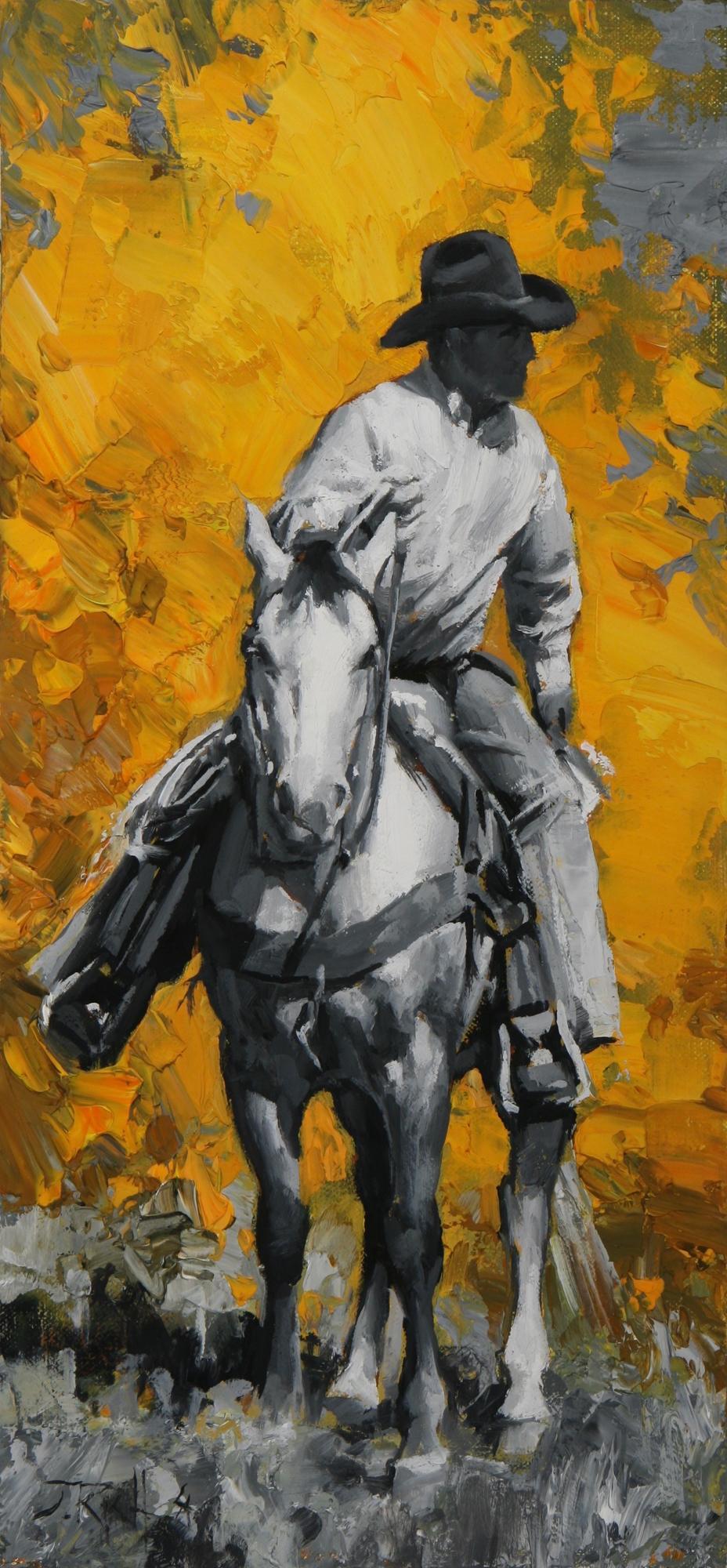 """Jason Rich """"Autumn Cowboy"""" 15x7 Oil"""