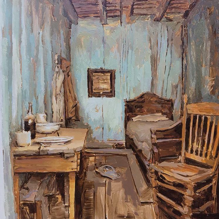 "Mary Sauer ""Blue Bedroom"" 12""x12"" Oil"