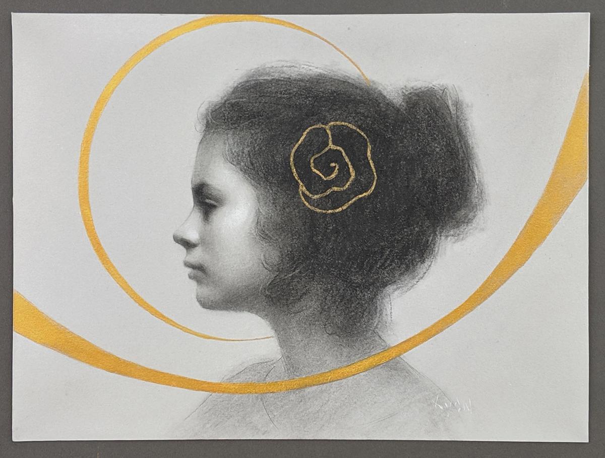 """Susan Lyon """"Golden Rose"""" 8""""x10"""" Charcoal and Acrylic"""