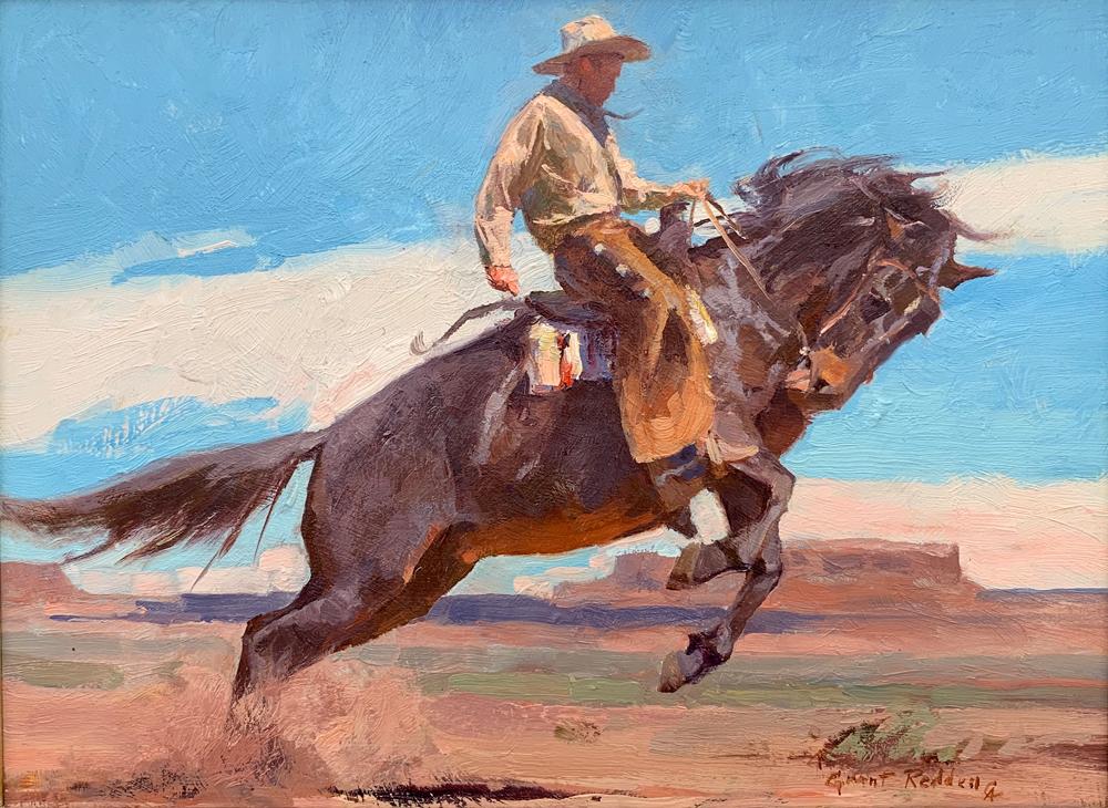 "(SOLD) Grant Redden ""Bucking Bronco"" 9""x12"" Oil"