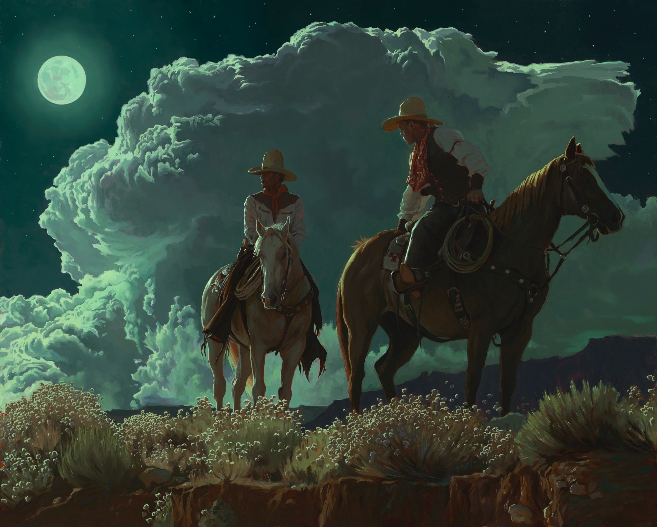 "(SOLD) ""Riders of the Coyote Moon"" 24""x30"" Oil"