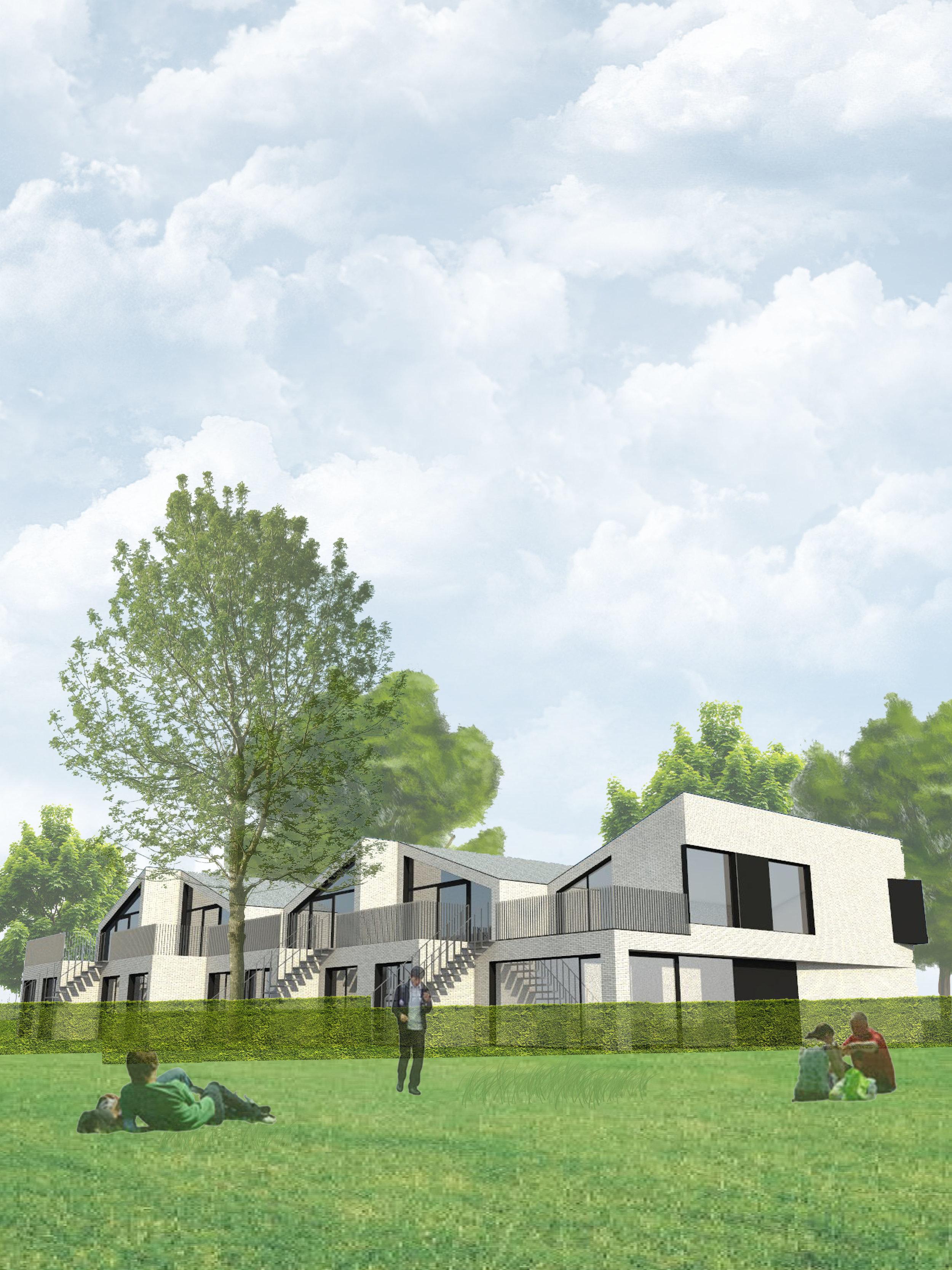 Binnen hetzelfde concept van 5 geschakelde woningen zijn verschillende woontypes mogelijk zonder aan de architectuur te wijzigen. Het verspringend schakelen van de woningen zorgt voor een speelse achtergevel