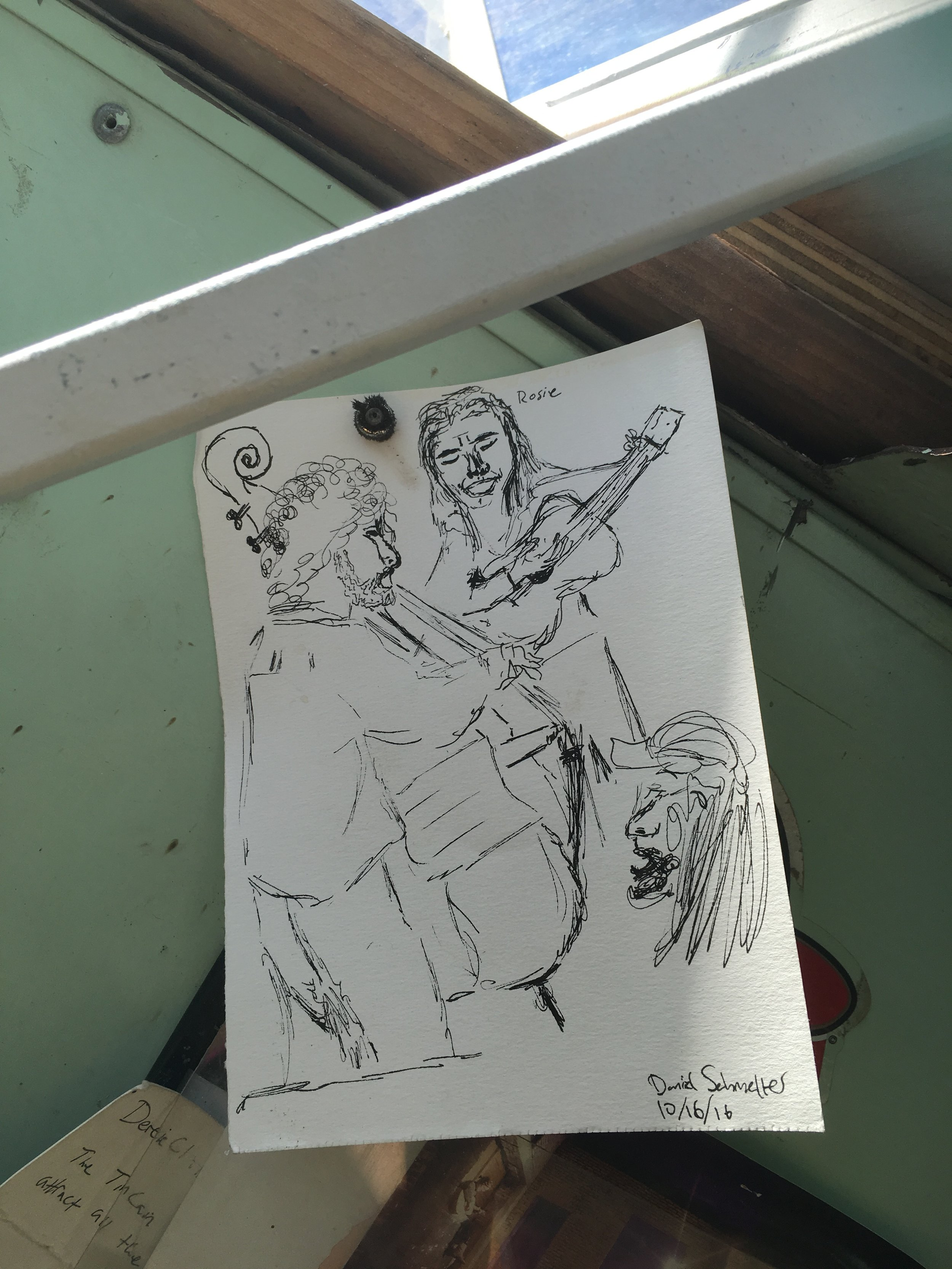 """Me, Jeff, and James as sketched by Dandelion (who, it appears, also goes by """"Daniel"""")"""