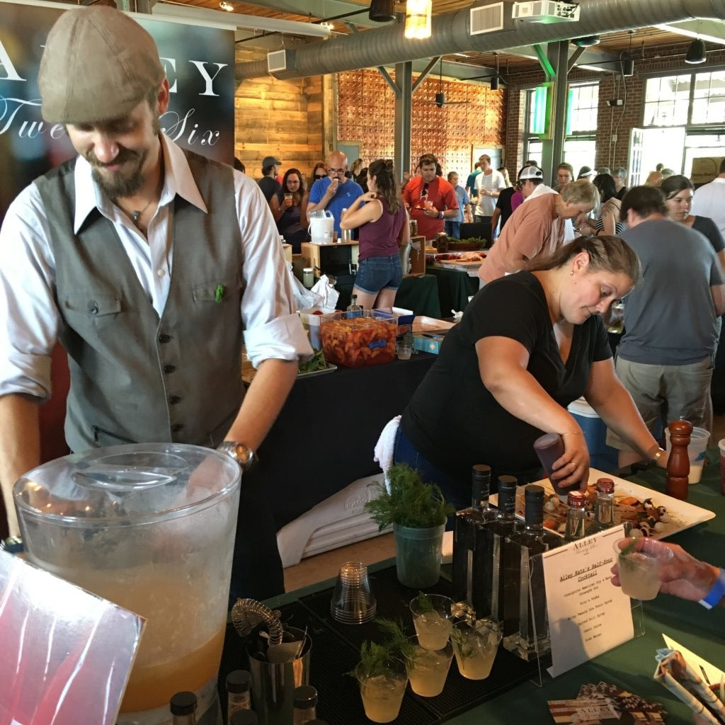 Bartender Rob and Chef Carrie of Durham's Alley Twenty Six serving up drinks and snacks at PickleFest 2016