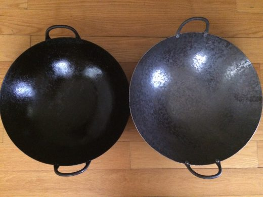 A seasoned Cen wok (left) and brand-new one (right). Photo: Grace Young