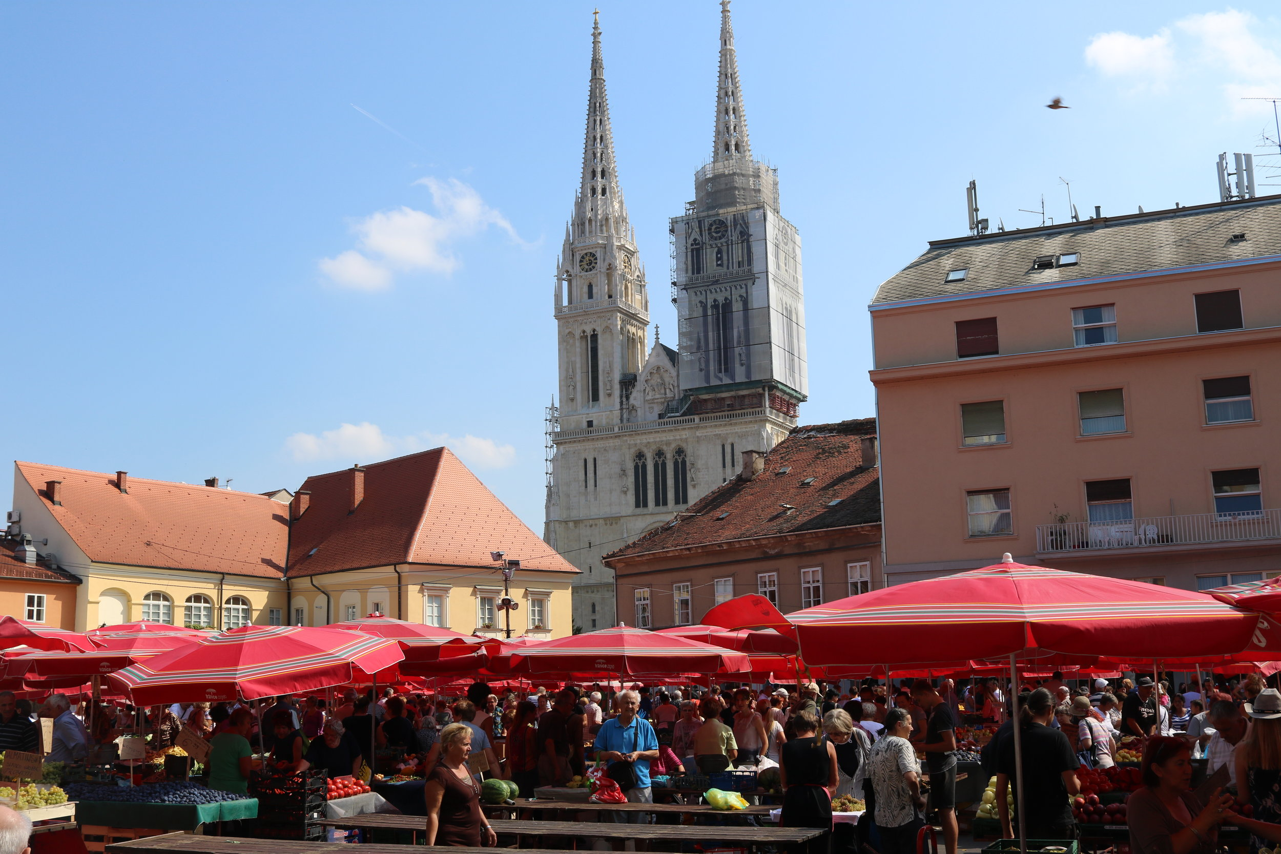 Dolac Market with Zagreb's iconic Cathedral in the background.