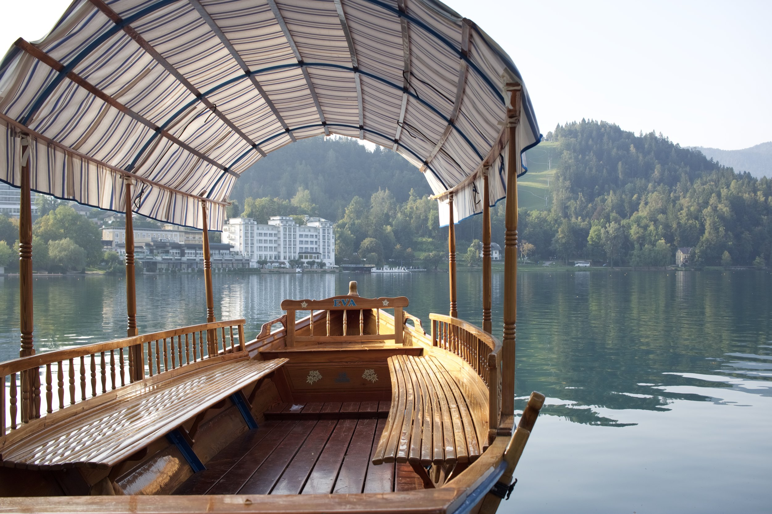 A traditional Pletna boat, Lake Bled, Slovenia