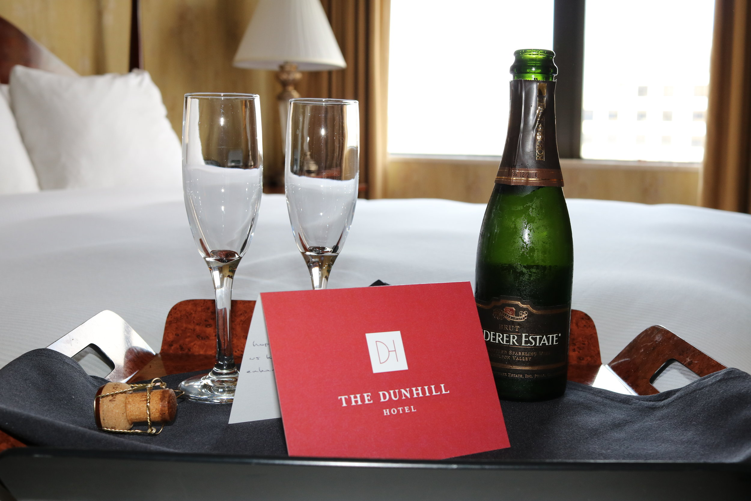 Bubbles for two courtesy of The Dunhill Hotel in Charlotte. (Not gonna lie, I wasn't mad about it.)
