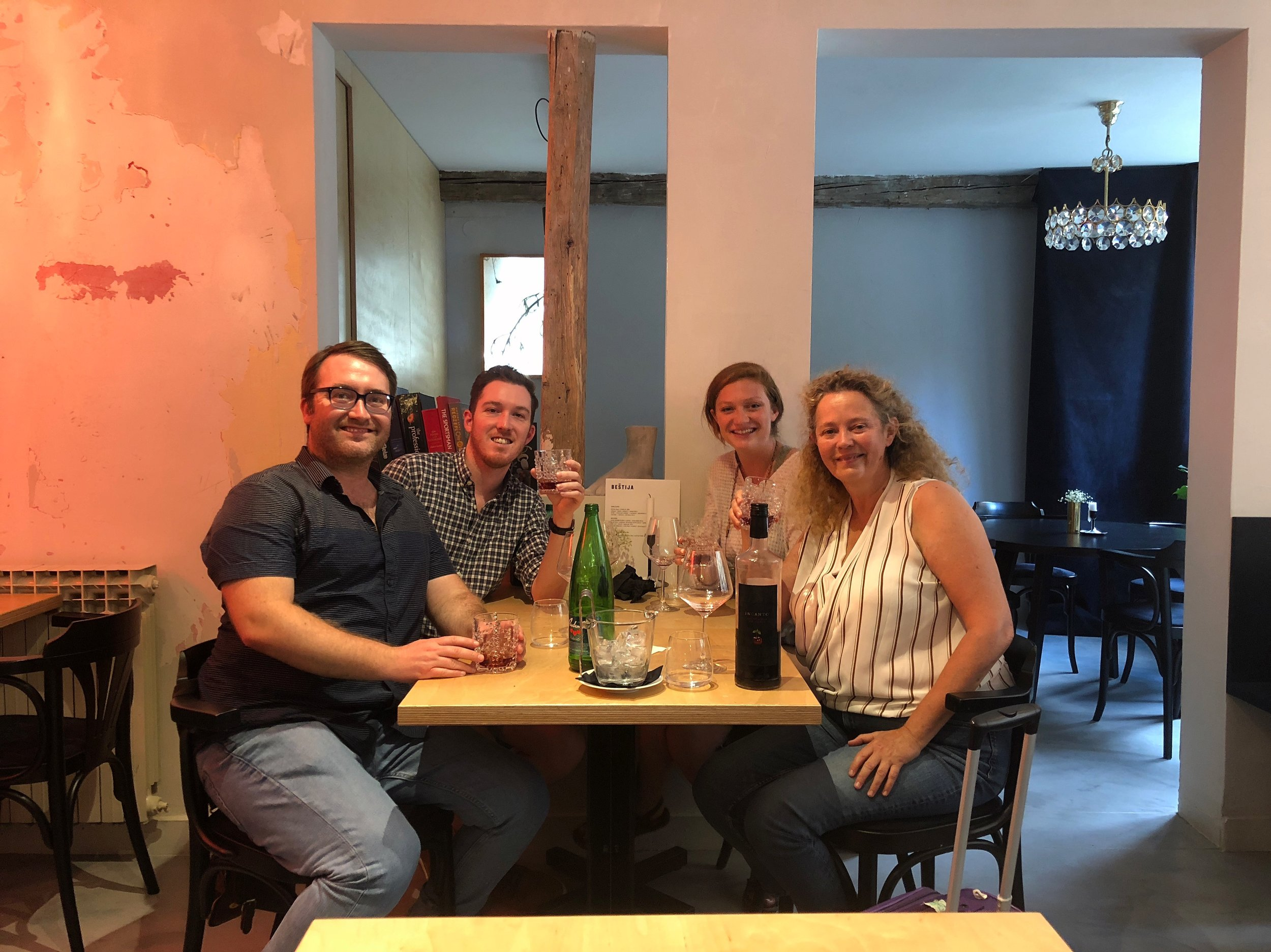 Dinner with friends at Beštija in Zagreb, one of our favorite new spots.