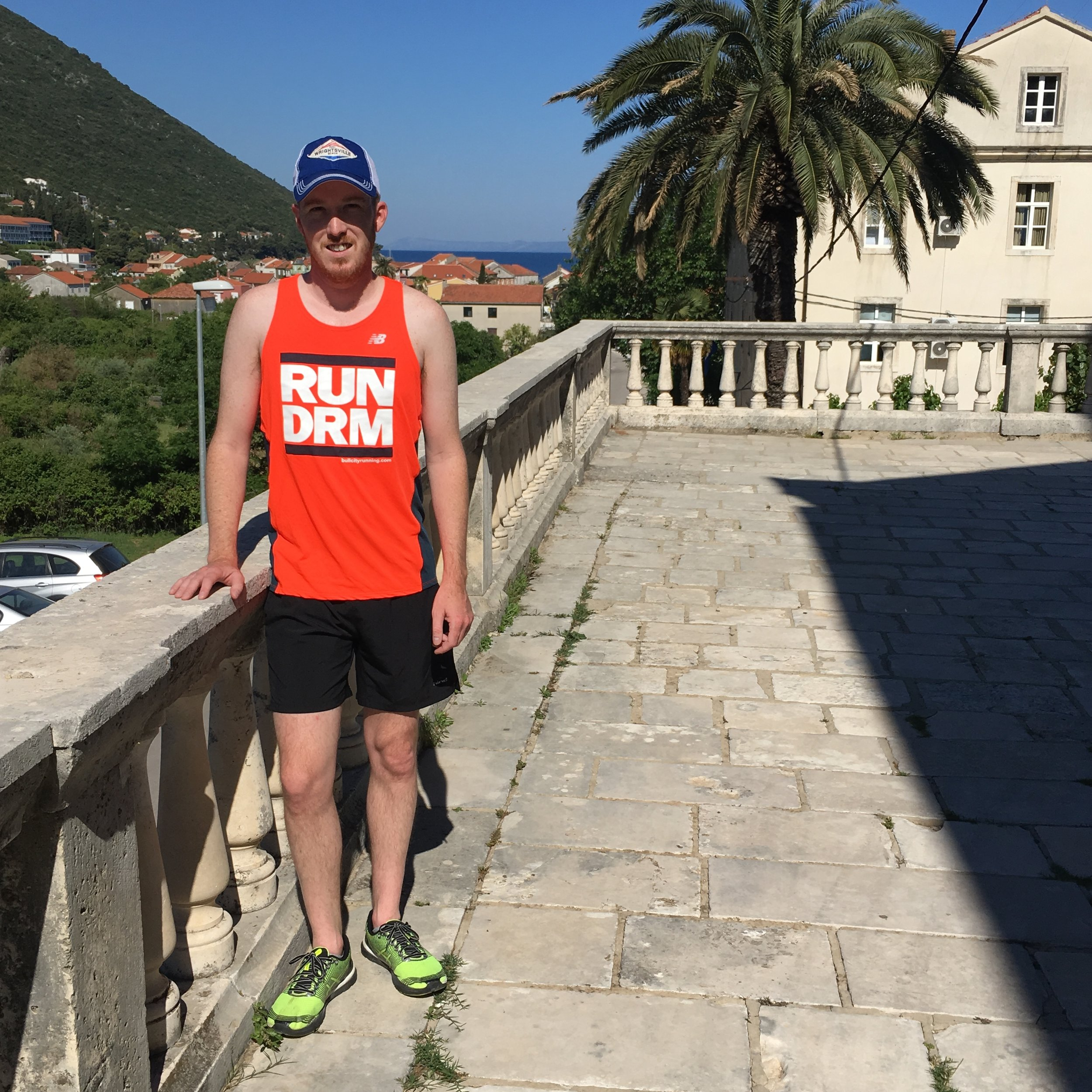 My morning routine travels well - post-run in Trpanj, Croatia.