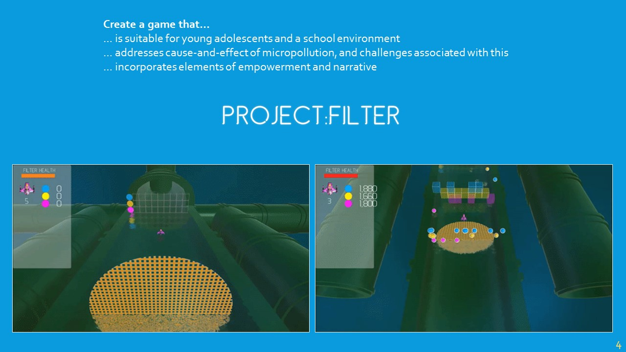 What I've come up with is  Project:Filter .It is designed for schoolchildren at the Formal Operational learning stage (from Piaget's learning theory), so around 12-13 years old.Players control a small drone that has been tasked with collecting micropollutants from pipes within the filtering system. Project:Filter  highlights the causes of micropollution, and the knock-on effects from associated challenges through small anecdotes that players unlock.Filters spawn periodically to help the player clean the waters, but over time these filters become less frequent and micropollutants spawn more often, adding a scaled element of challenge similar to that of  Tetris . This is also intended to give the player a sense of empowerment, as they become less reliant on the filters.The game ends if players lose all their lives, or the filter loses all of its health.The game is intended to be a launching pad for discussion about water pollution, and I'm hoping to work with schools to incorporate this into a wider curriculum project.I have a little book here that I would ask you kindly to leave any comments you have on  Project:Filter  – because, unfortunately, I have a memory like a sieve…