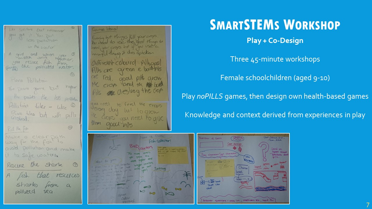 The first pre-study was a design workshop as part of our  SmartSTEMs Day  at Glasgow Caledonian University, where female schoolchildren were invited to participate in STEM-related subjects.There were three short workshops throughout the day: the schoolchildren played each of the three games, then were put into small groups and challenged with designing a water health game.The games that were designed were expected to show knowledge taken from the games, as well as the ability to take this knowledge and apply it to a specific context, in this case game design.My rationale from this is that game development engaged the schoolchildren in understanding the complexities of a fairly-challenging topic, and we can see as a result the variety of their designs.Most commonly, games went along the lines of very popular games among the groups, such as  Subway Surfers , with the context of water pollution embedded within the design, which was a successful outcome in my opinion.