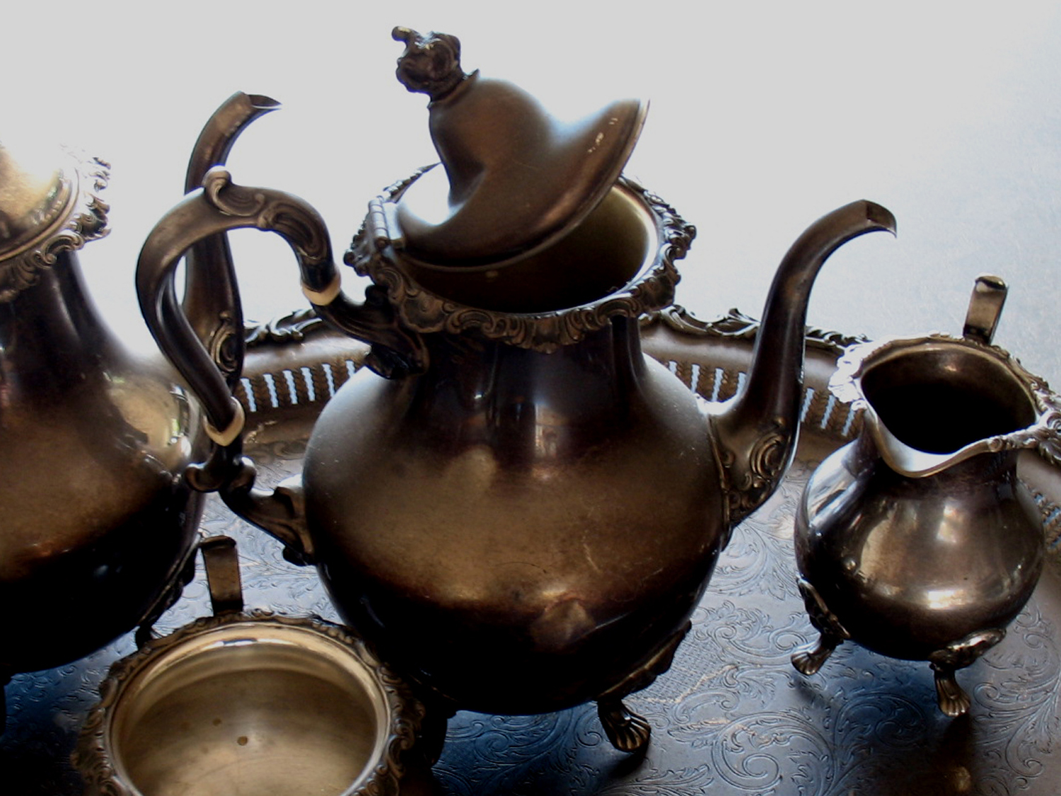 sterling silver teapot with soot and damaged lid