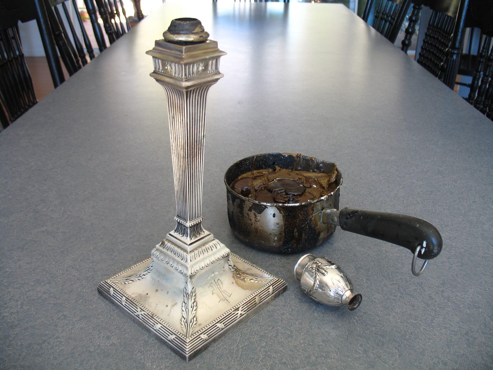 Broken 19th century silver candlestick in progress
