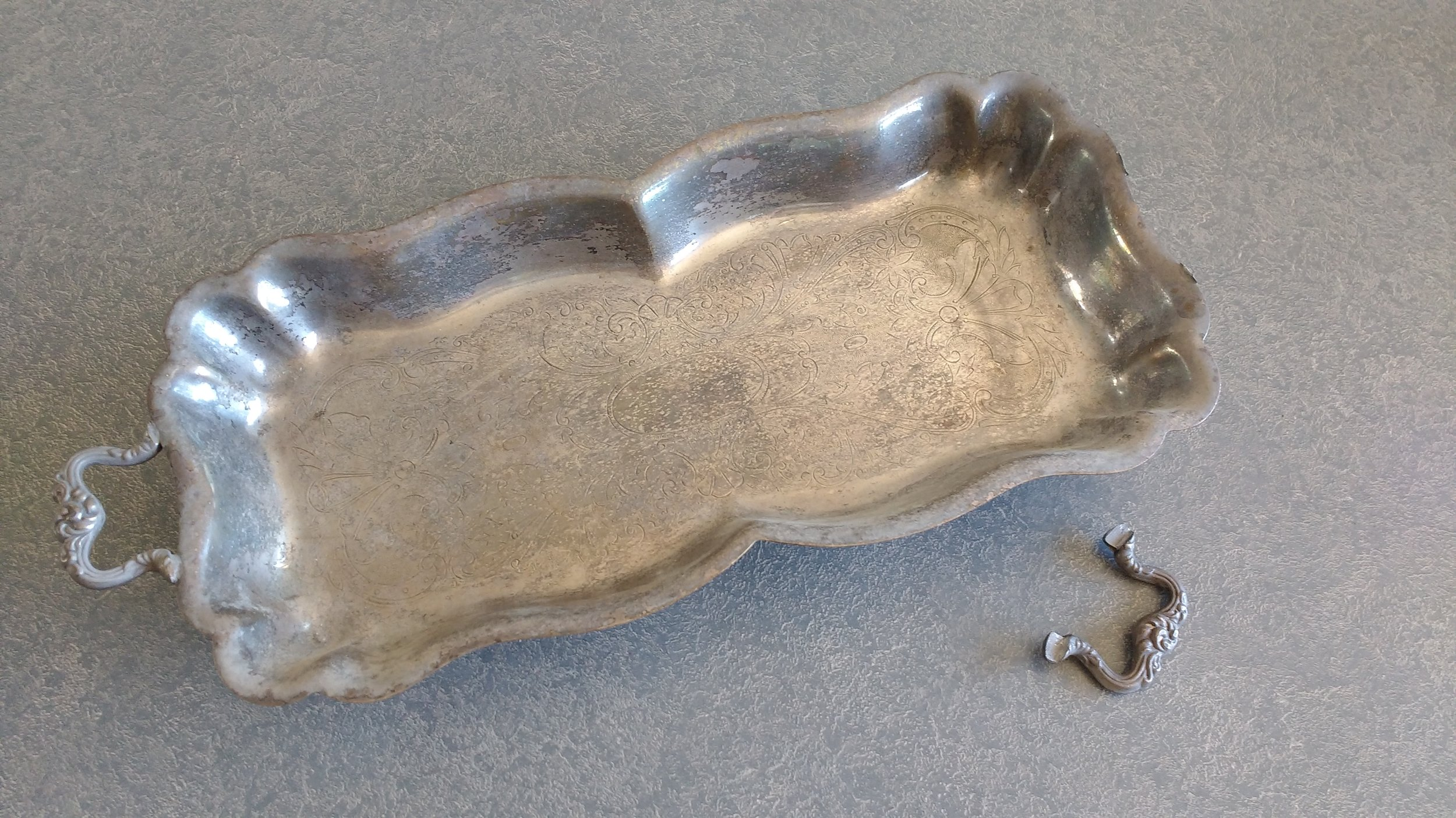 Small silverplate dis with broken handle