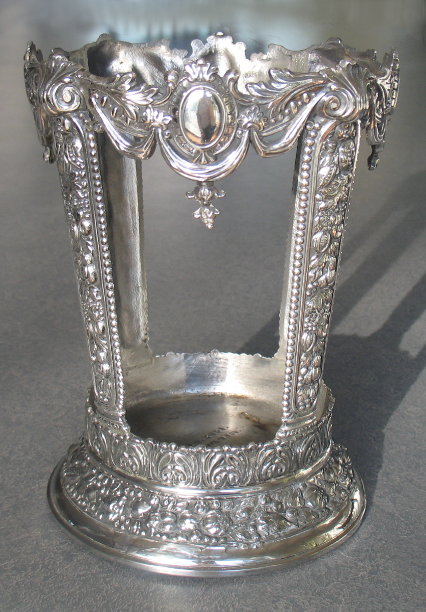 Silverplate white metal frame for a glass vase