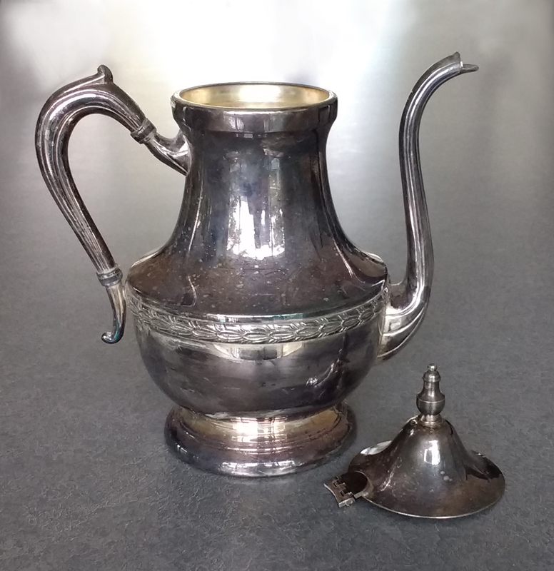 The hinges on silverplate coffeepots are very vulnerable to breaking.