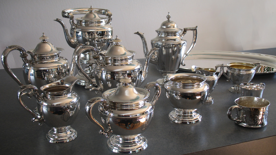 Sterling silver teapot, coffeepot, creamer, sugar, waste bowl, hot water and tray polished