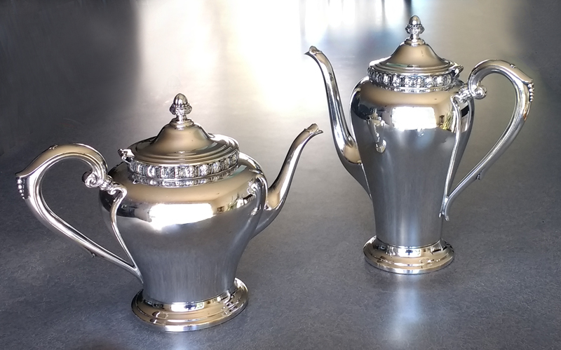 Silverplate Teapot & Coffeepot with hinge repaired, dents removed, base fixed and polished
