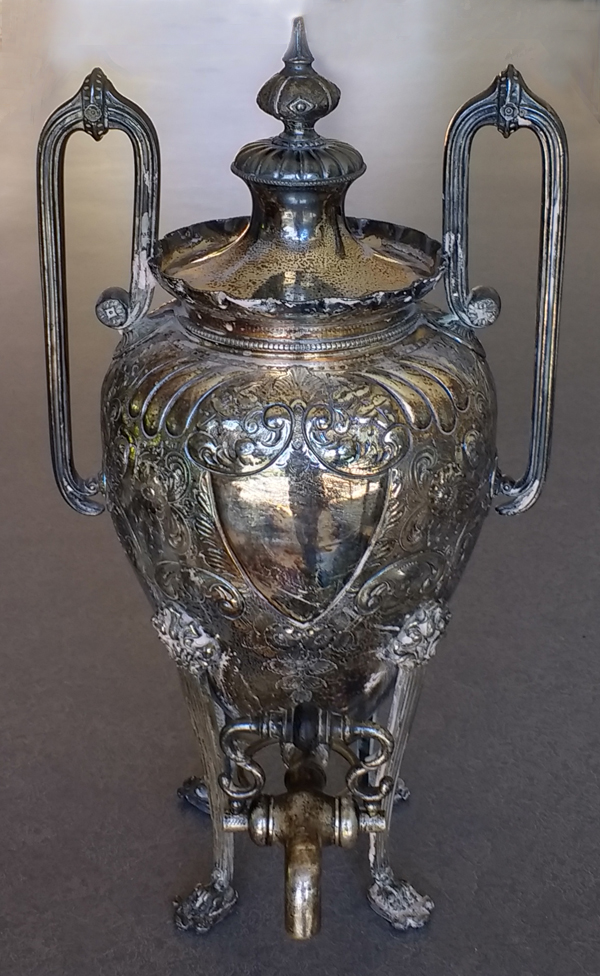 silverplate urn with frozen spigot tarnished