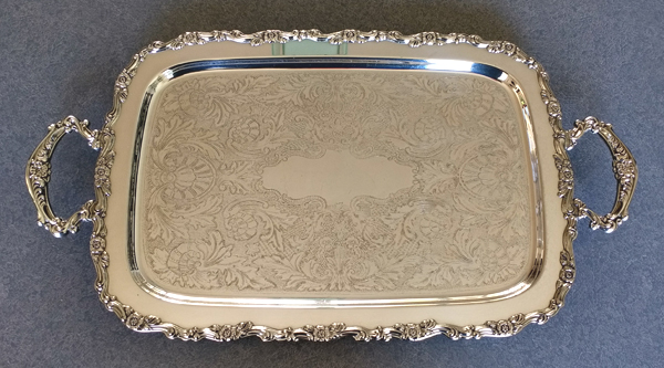 Polished silver plate tray