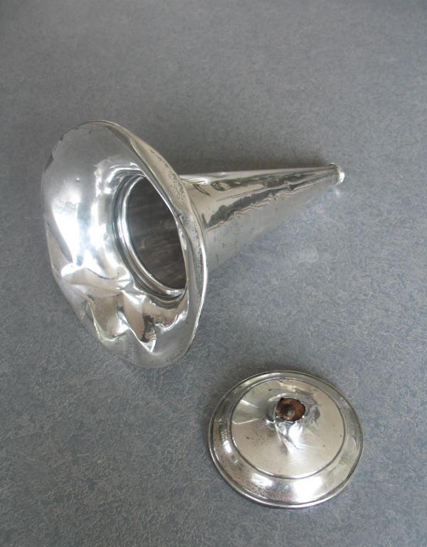 Sterling silver trumpet shape Flower vase broken and dented