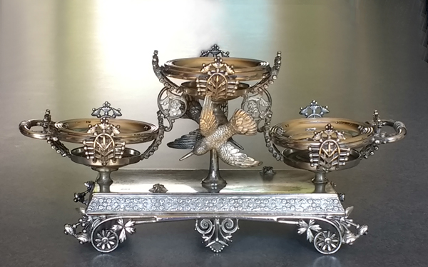 Antique silverplate epergne polished.