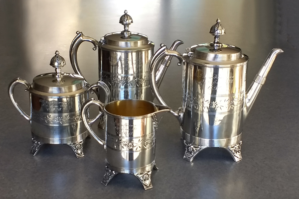 antique silverplate coffeepot teapot polished