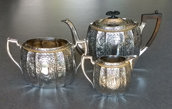 Silverplate teapot creamer sugar polished repaired