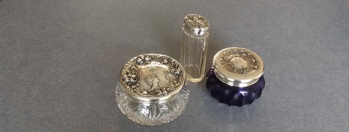 Sterling silver dresser set lids restored