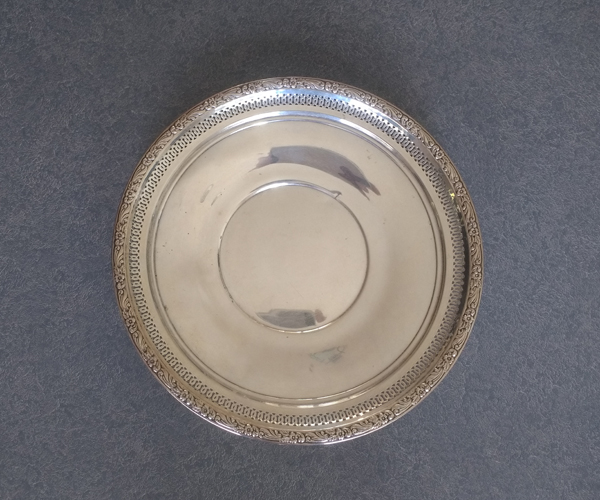 Sterling silver 20th century dented plate
