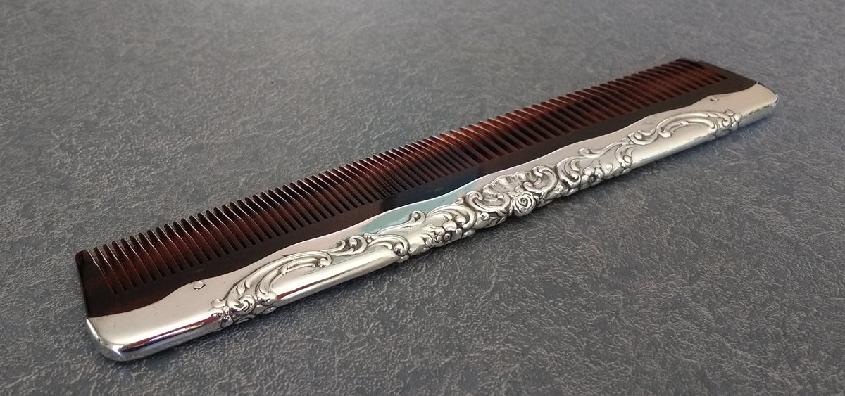 sterling silver comb fitter with new tortiseshell comb replacement