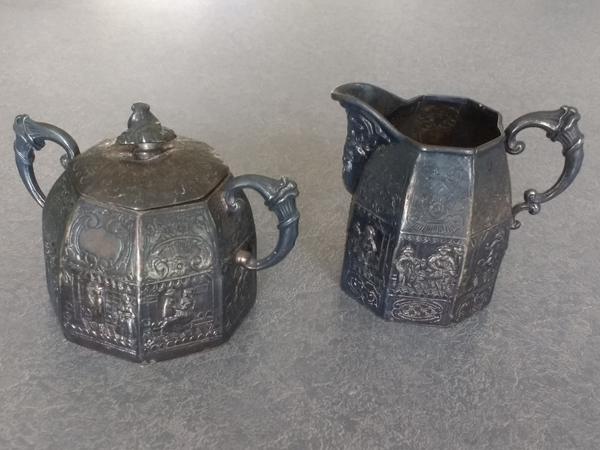 Antique German Silver Plate black with tarnish