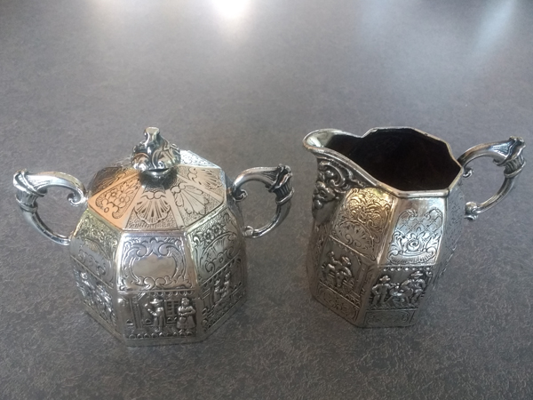 Antique German Silver Plate Sugar and Creamer after polishing