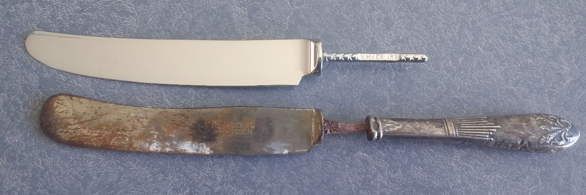 Antique sterling silver handle with rusty knife and new replacement stainless steel blade side by side