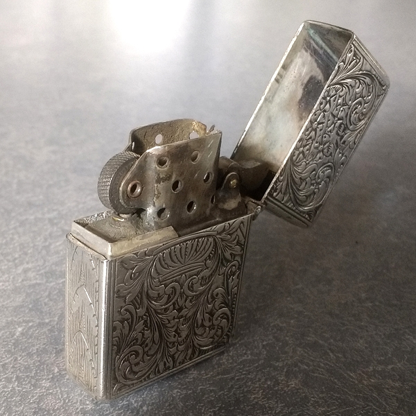 sterling silver cigarette lighter shim aligns opening