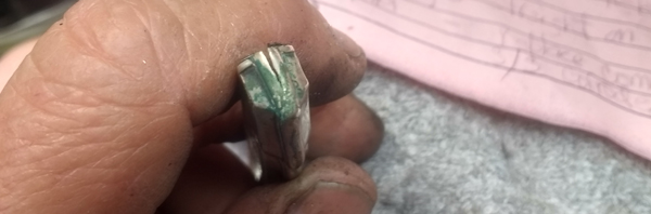 split seam on sterling silver comb fitter