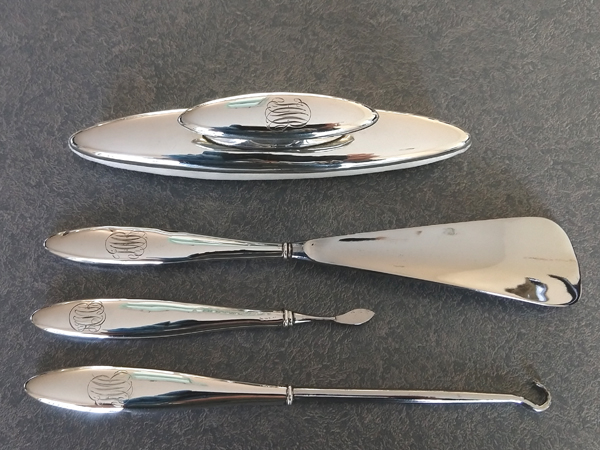 sterling silver buffer restored and dresser set tools