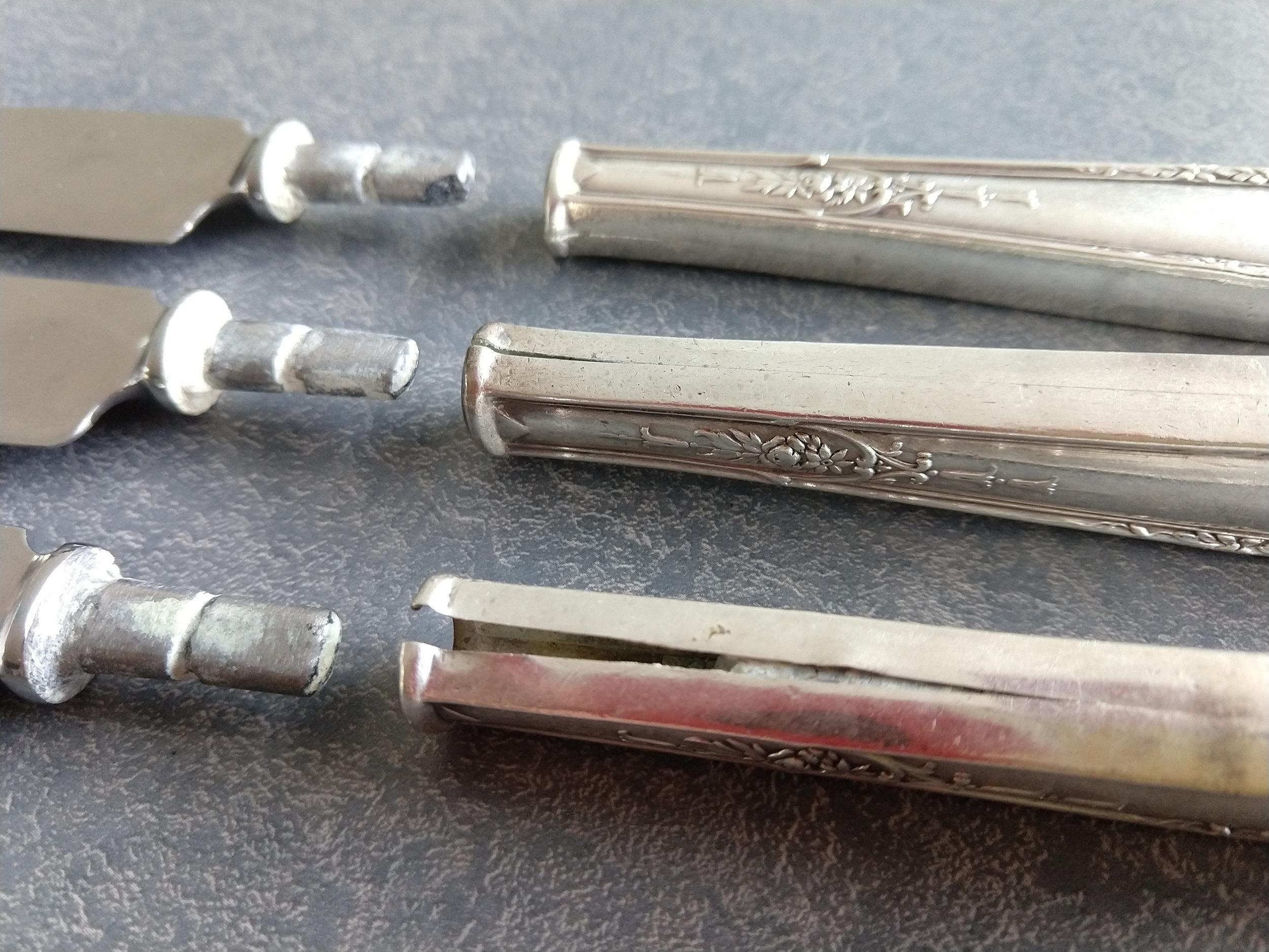 split sterling silver knife handles