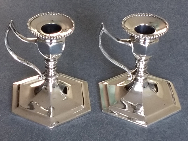 Silverplate white metal candlestick repaired