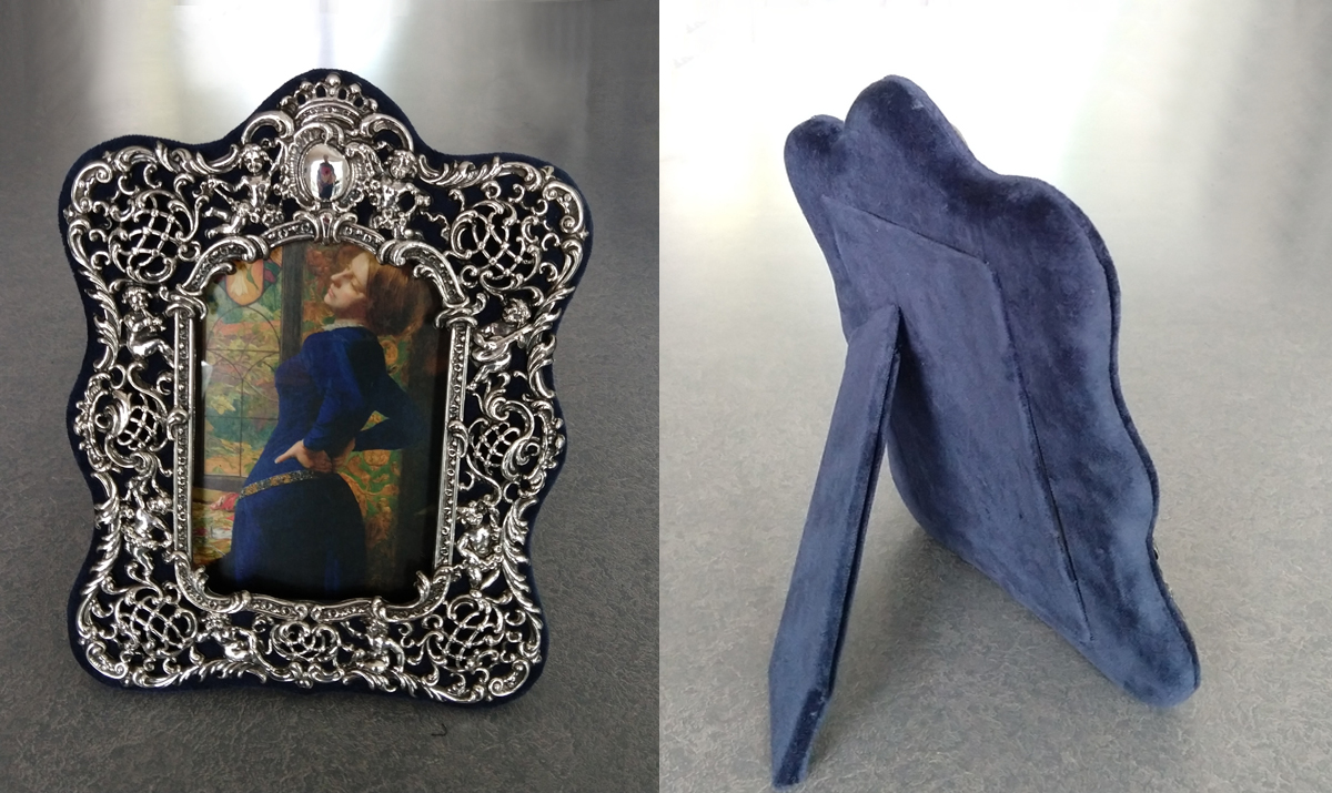 Sterling silver picture frame with blue velvet fabric replaced