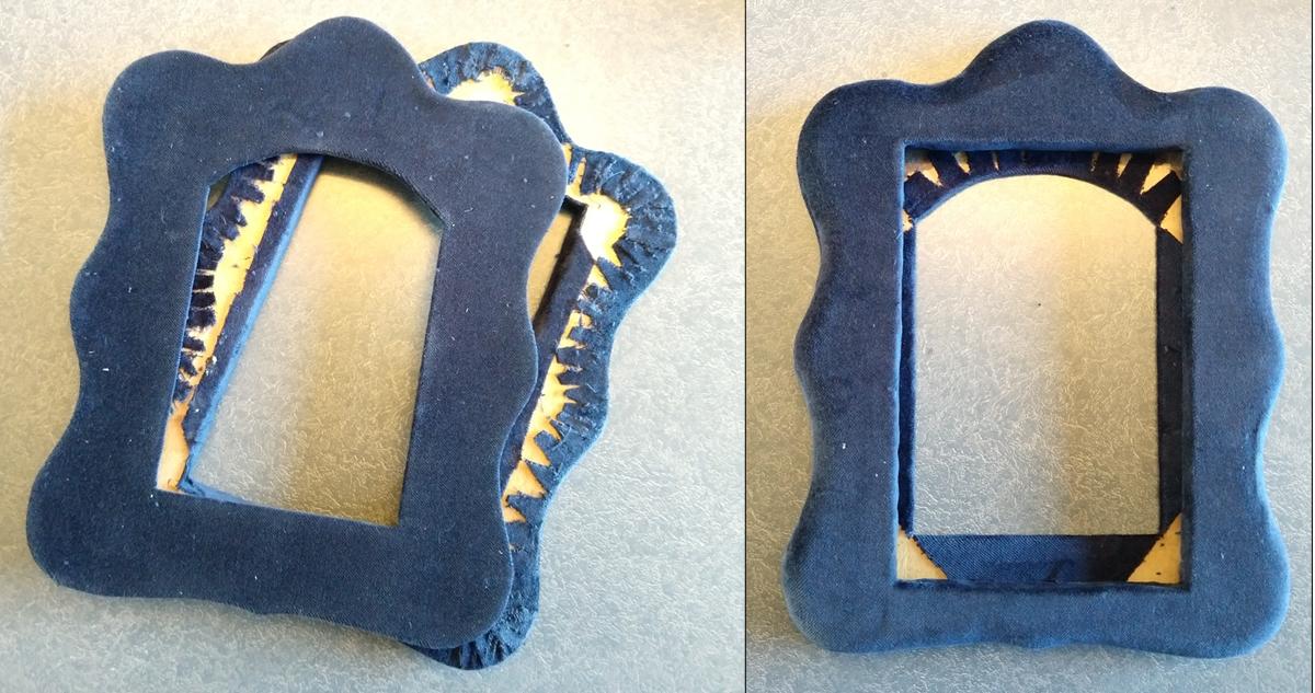 new-velvet-fabric-covering-wood-picture frame
