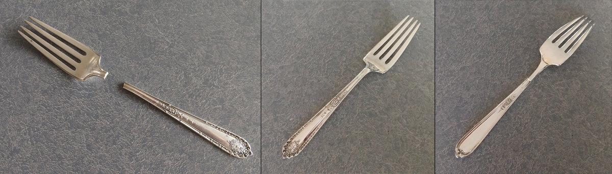 broken sterling silver fork before and after repair with patch